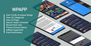 App WP-Wordpress site App avec Push Nitification & AdMob soutien