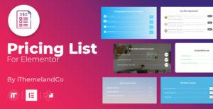Image de la liste de prix pour Elementor