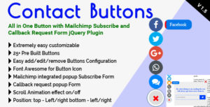Contact Buttons - All in One Button with Mailchimp Subscribe and Callback Request Form jQuery Plugin