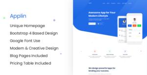 Applin - Modern App Landing Page Site Template