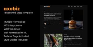 Axobiz - Responsive Blog HTML Site Template