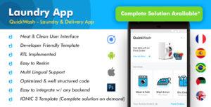 Blanchisserie Android App + modèle d'application iOS | Quickwash (HTML + CSS fichiers IONIC 3)