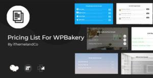 Liste de tarification pour WPBakery Page Builder (Visual composer)