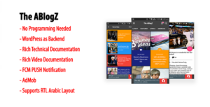 ABlogZ | Native Android Blog or News App for WordPress Site with AdMob & FCM PUSH Notification