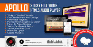 Apollo - Sticky Full Width HTML5 Audio Player for WPBakery Page Builder (formerly Visual Composer)