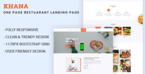 KHANA - One Page Restaurant PSD Template