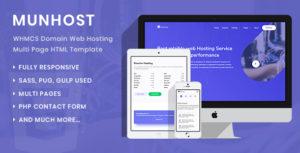 MunHost - WHMCS Domain Web Hosting Multi Page HTML Template