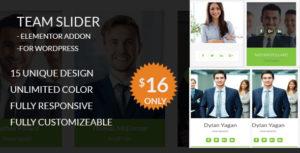 Team Slider - Team Member Showcase Elementor addon - For WordPress