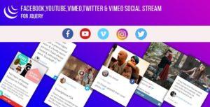 jQuery - Facebook,YouTube,Vimeo,Twitter,Instagram Social Stream Grid