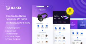 Bakix - Crowdfunding Startup Fundraising  WordPress Theme