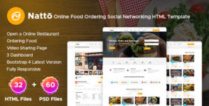 Natto - Online Food Ordering Social Networking Html Template
