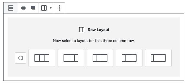 L'outil 'Row Layout' dans l'éditeur de blocs de WordPress