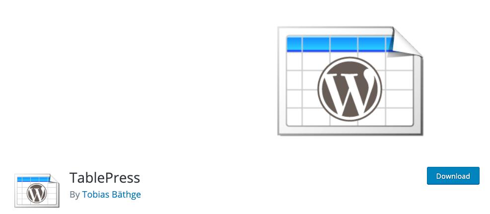 Plugin TablePress-WordPress