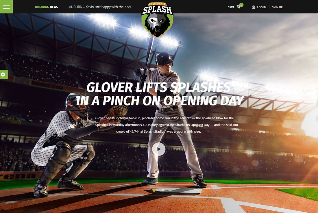 Thème WordPress Splash Sport Baseball