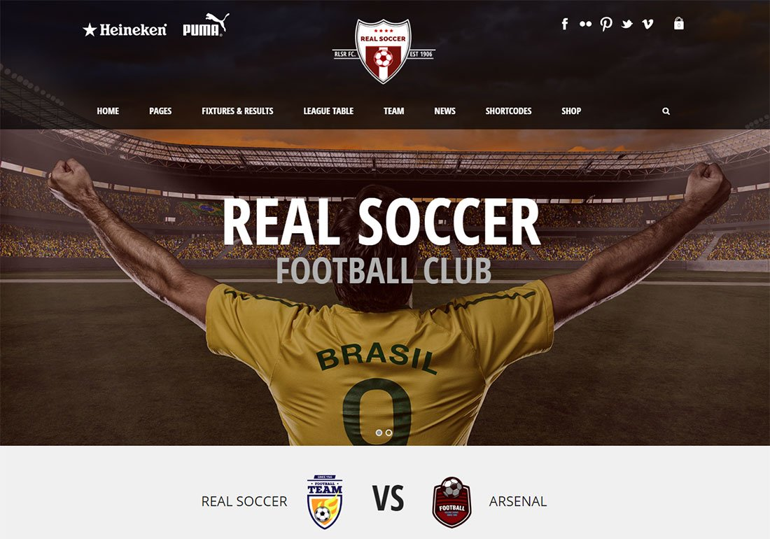 Thème WordPress REAL Soccer Baseball