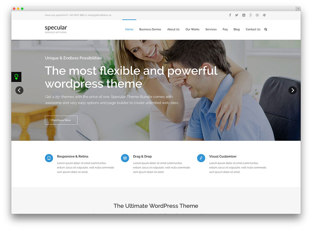 thème wordpress de consultation flexible spéculaire