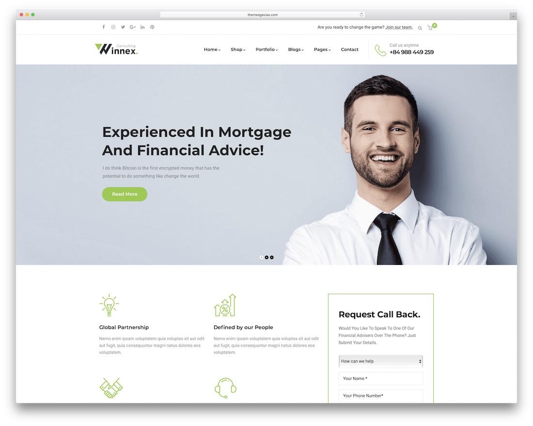 winnex consulting wordpress theme