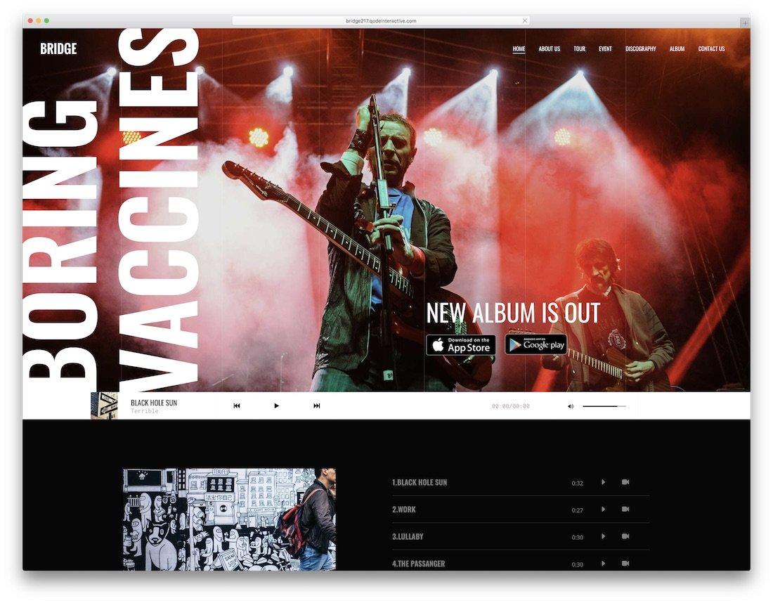 thème wordpress bridge pour les musiciens