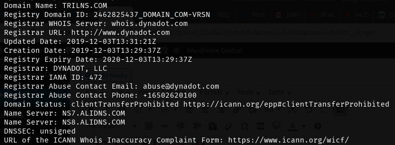 Résultats WHOIS pour le domaine C2 trilns.com, montrant les serveurs de noms ALIDNS.COM.