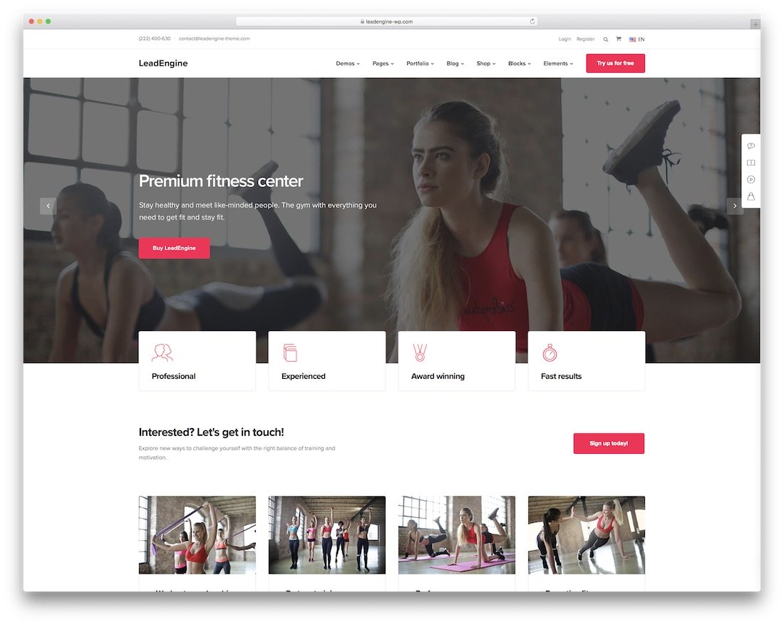 thème de fitness leadengine wordpress