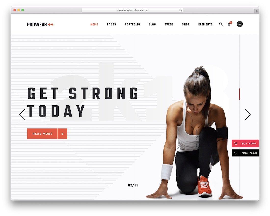 thème de fitness wordpress prouesse
