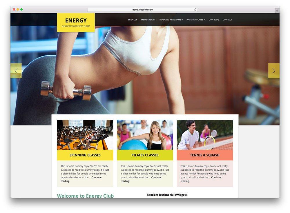 énergie - thème wordpress fitness et yoga