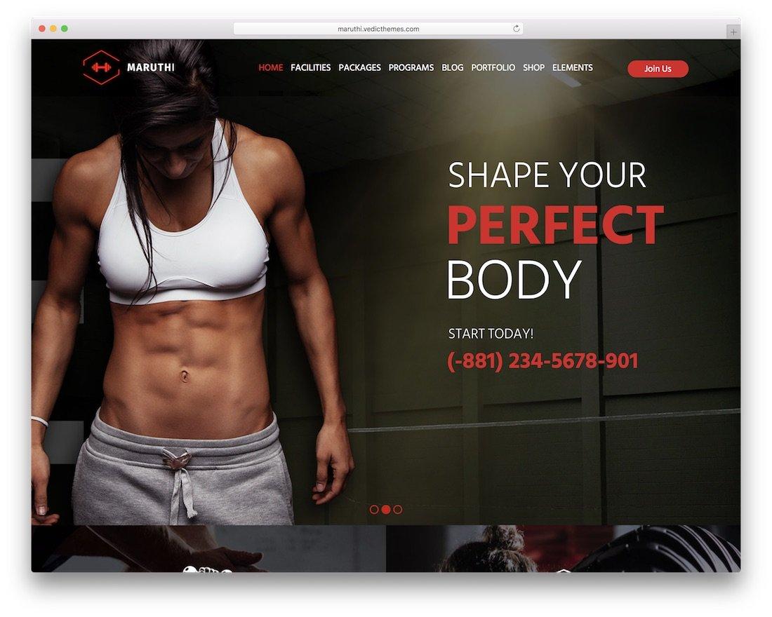 thème de fitness maruthi wordpress