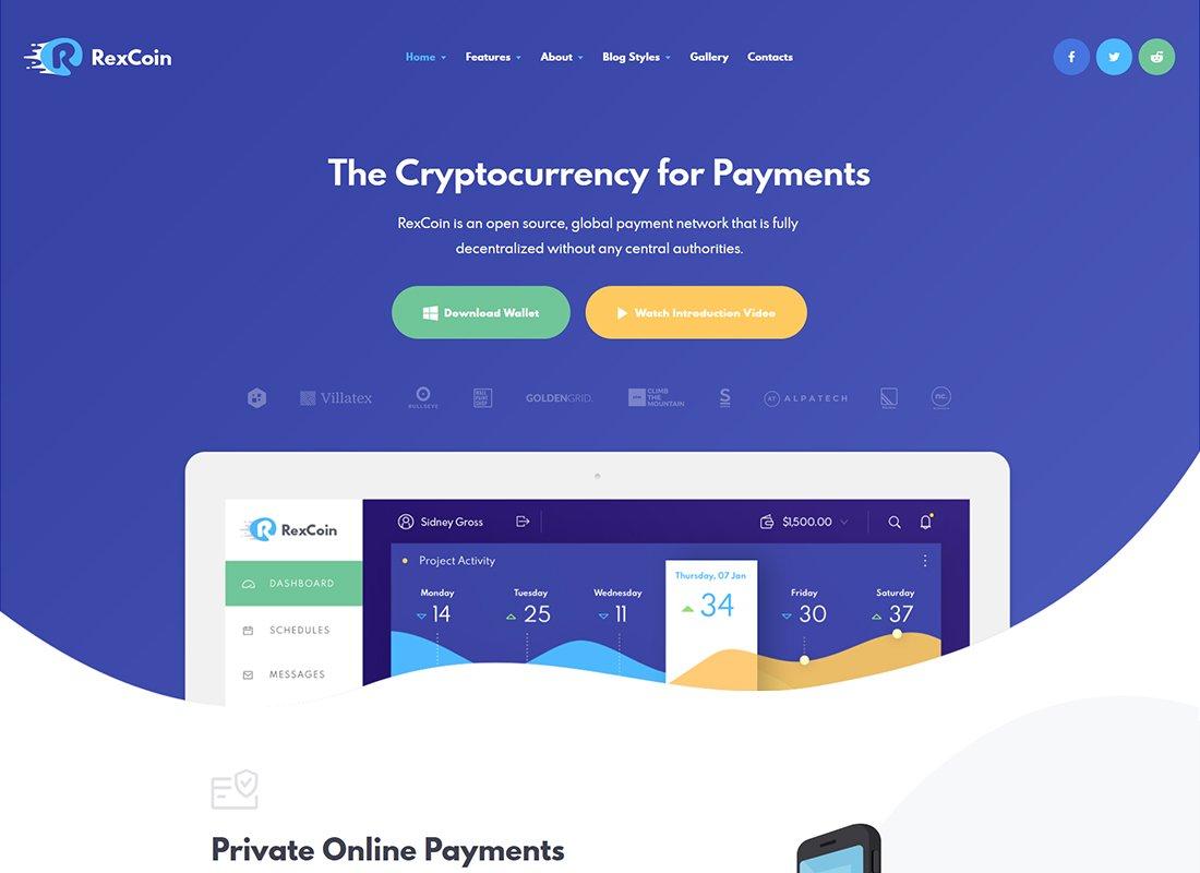 RexCoin - Un thème WordPress polyvalent pour les crypto-monnaies et les pièces ICO
