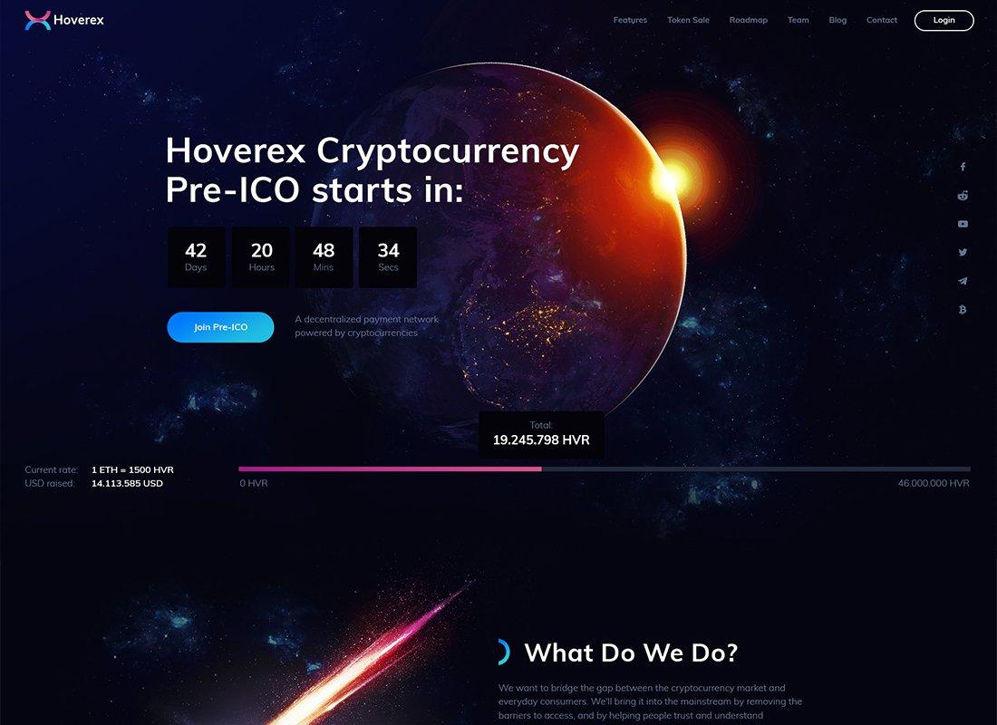 Hoverex - Thème WordPress Crypto-monnaie et ICO + espagnol