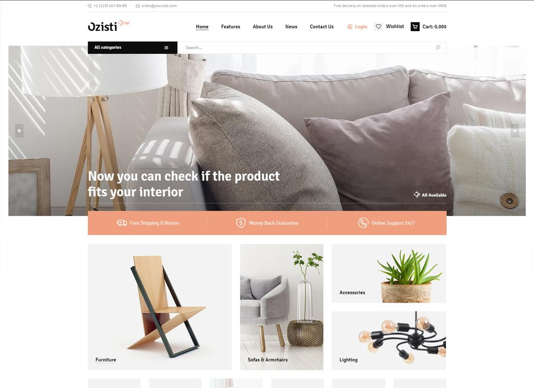 Ozisti - Un thème WordPress WooCommerce multi-concept prêt pour le magasin de réalité augmentée