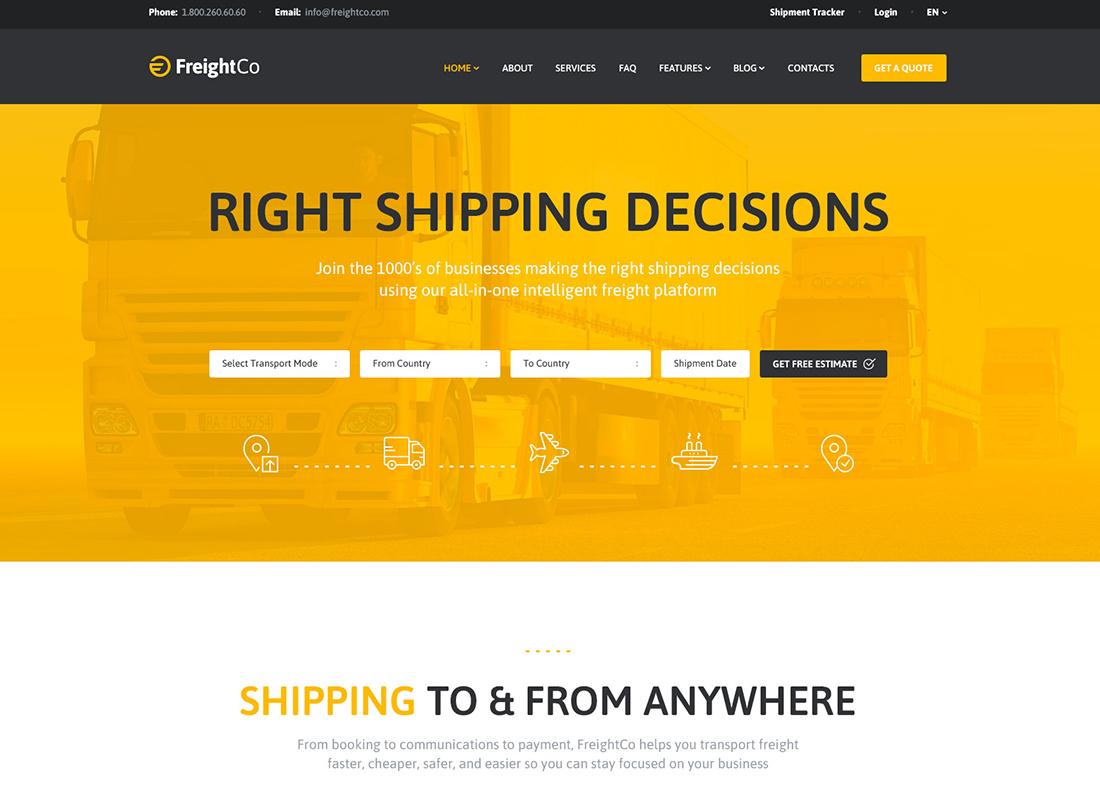 FreightCo - Thème WordPress pour le transport et l'entreposage