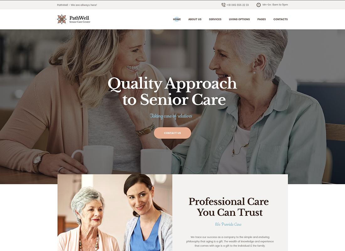 PathWell - Un thème WordPress pour les hôpitaux pour personnes âgées