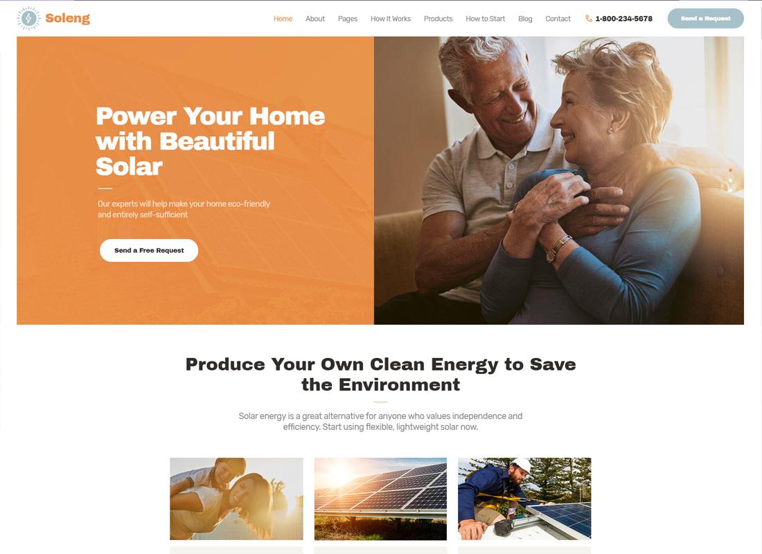 Soleng - Un thème WordPress pour une entreprise d'énergie solaire