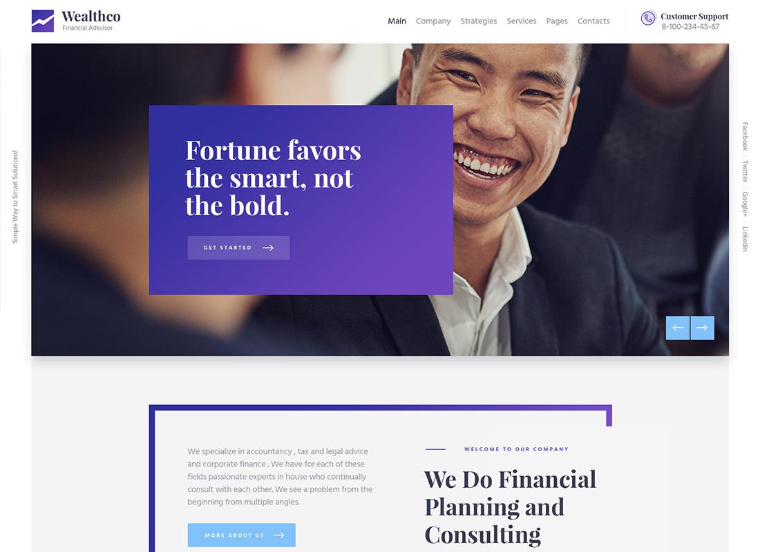 WealthCo - Un nouveau thème WordPress pour les conseils commerciaux et financiers