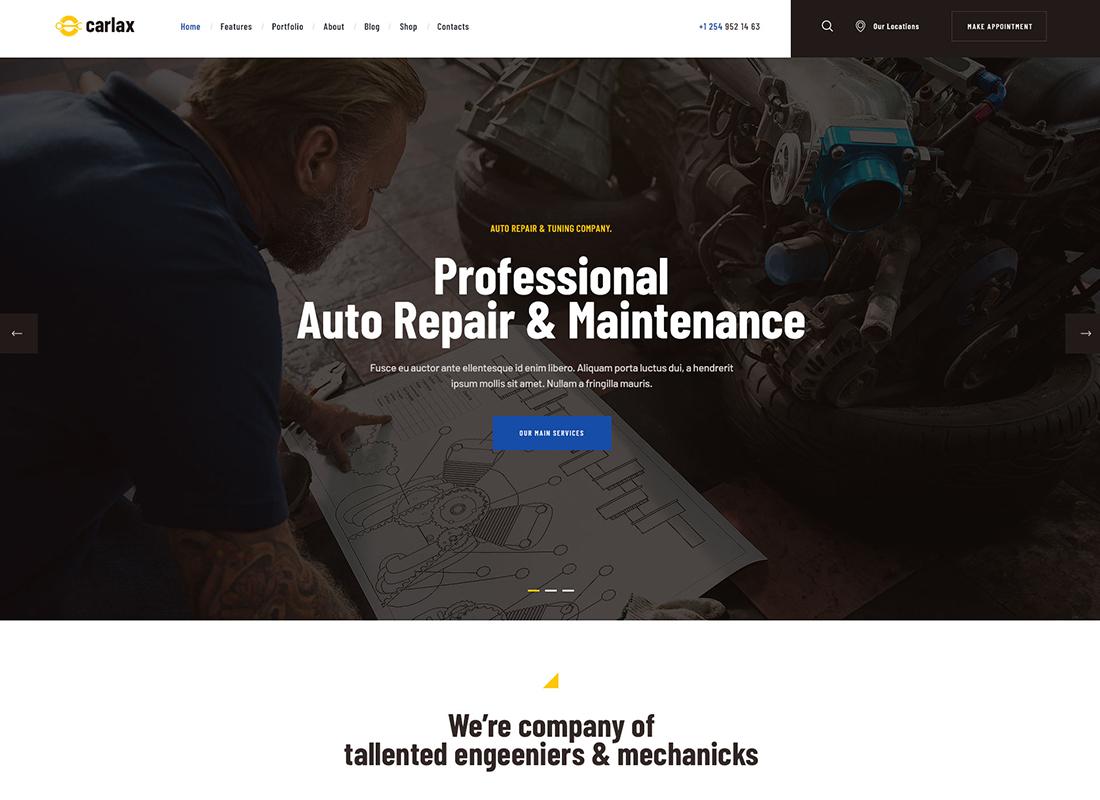 Carlax - Thème WordPress pour magasin de pièces automobiles et service automobile