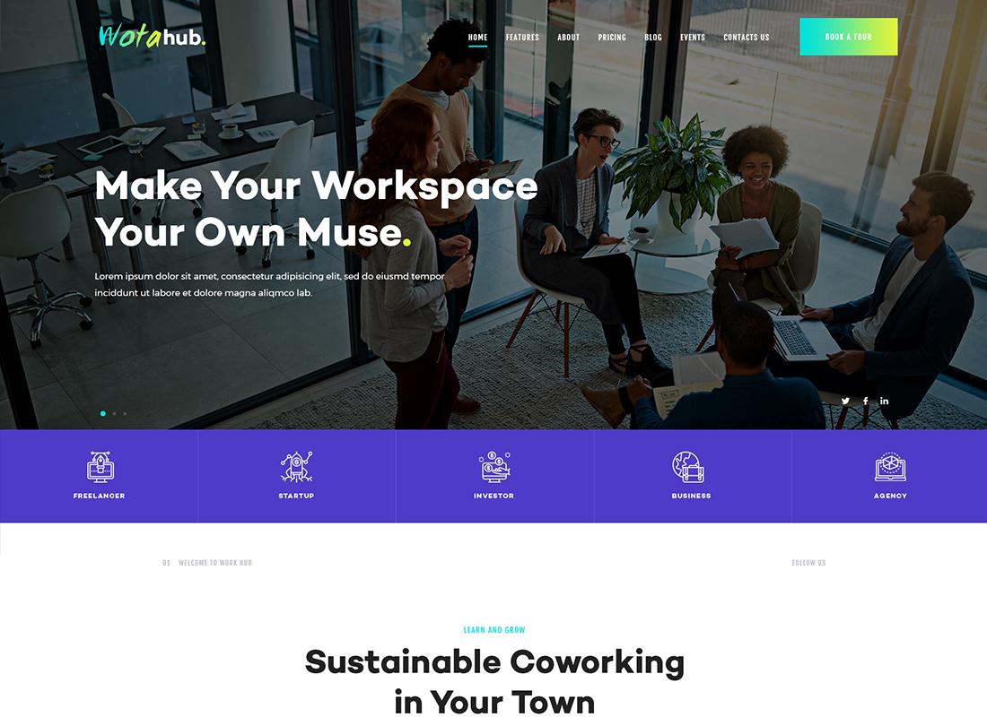 WotaHub - Thème WordPress de l'espace de coworking