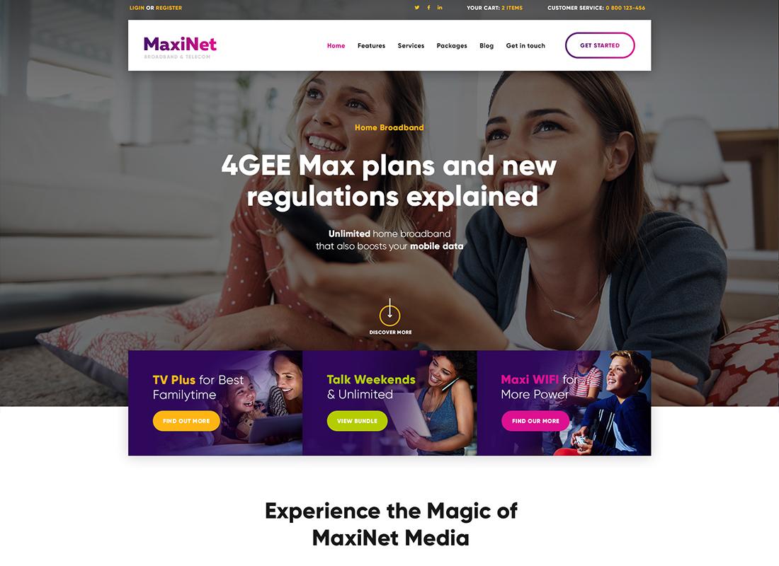 MaxiNet - Thème WordPress haut débit et télécom