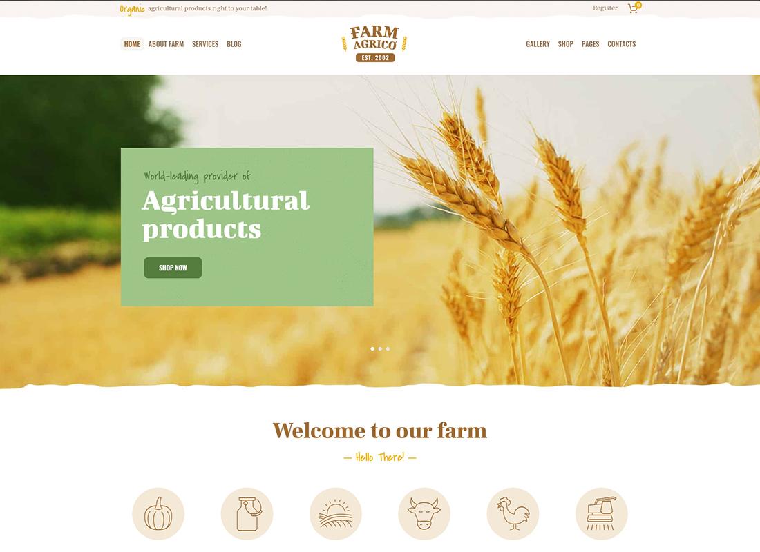 Farm Agrico - Thème WordPress pour les entreprises agricoles