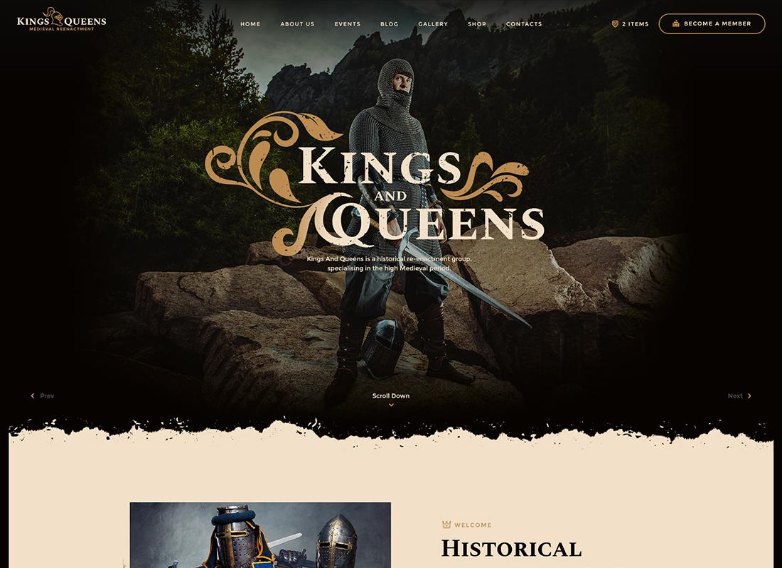 Kings & Queens - Thème WordPress pour la reconstitution médiévale