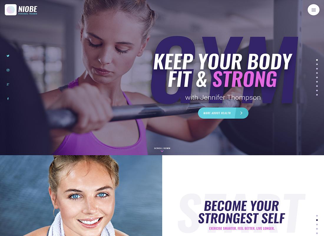 Niobe - Un thème WordPress pour entraîneur de gym et coach en nutrition
