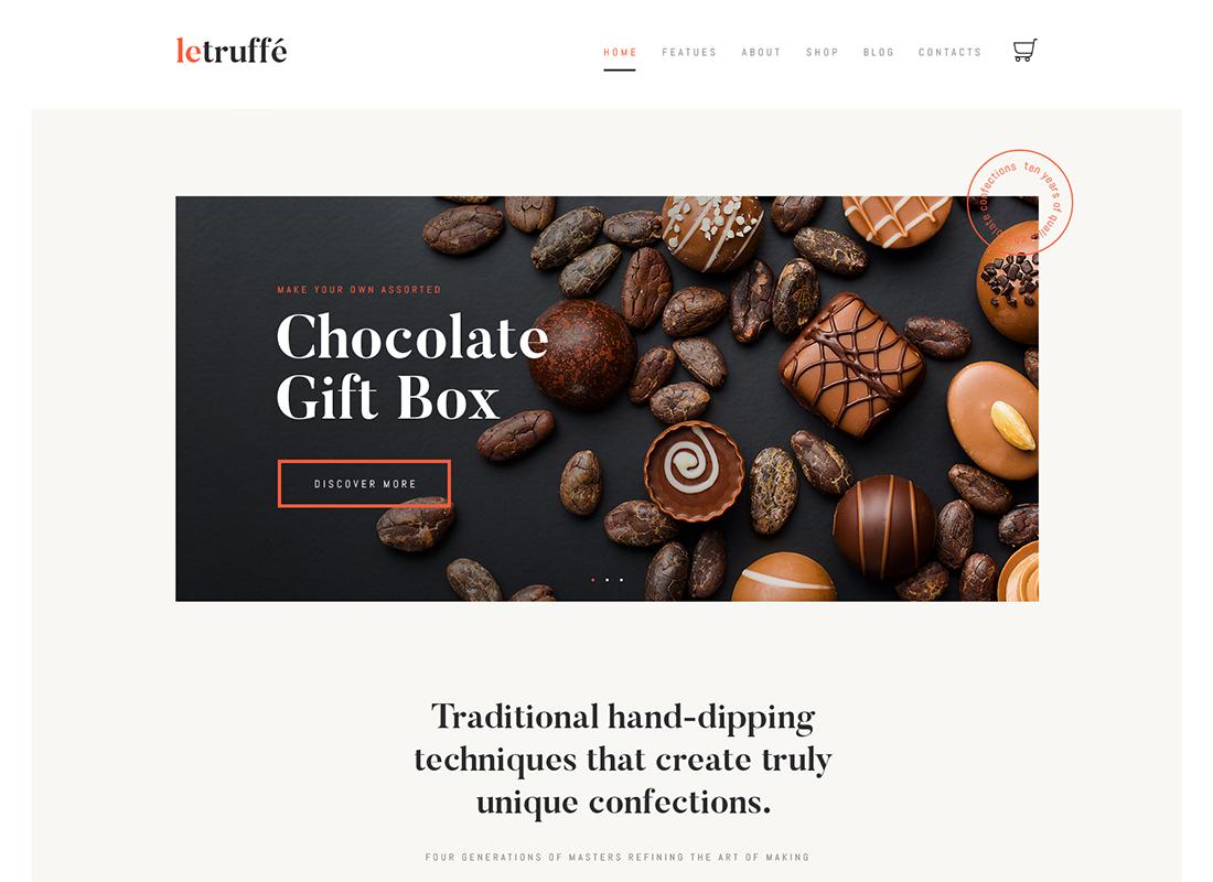 Le Truffe - Thème WordPress pour boutique de chocolat