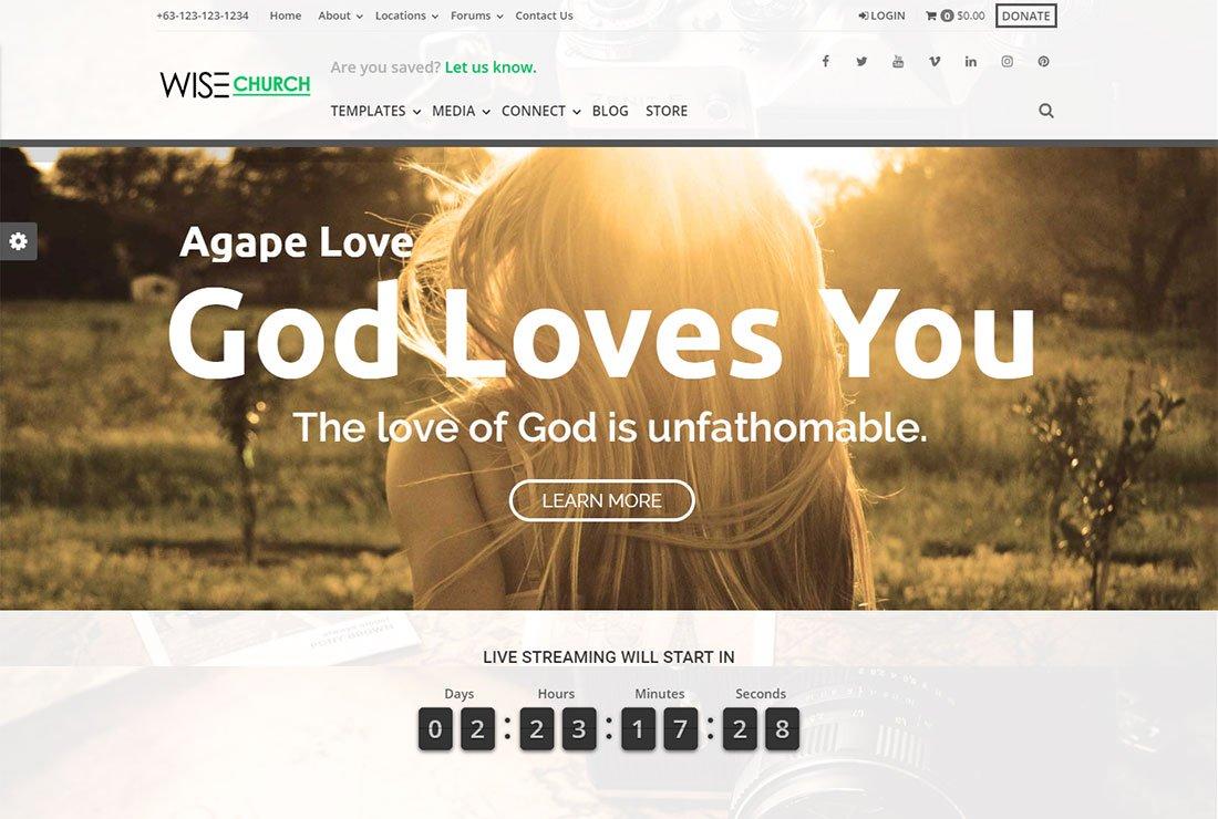 Thème de streaming en direct Wise Church WordPress