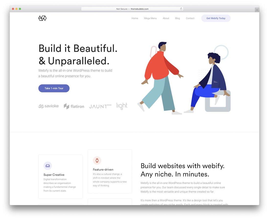 thème wordpress design plat webify
