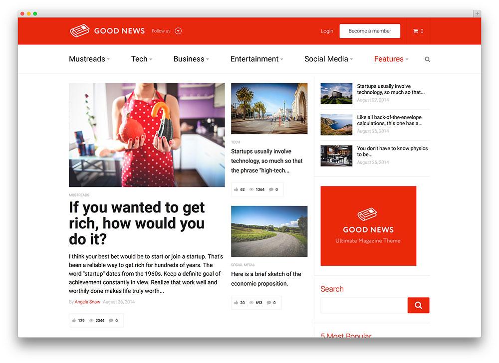 goods news - minimal magazine theme
