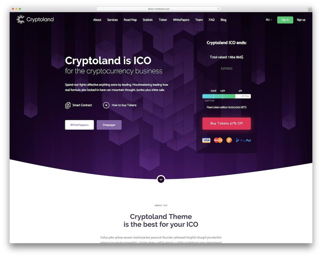 thème wordpress de page de destination cryptoland
