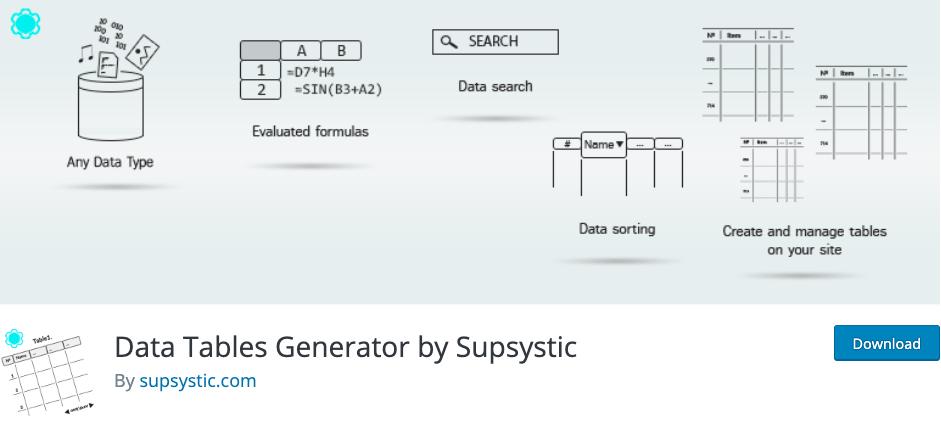 Générateur de tableaux de données par Supsystic