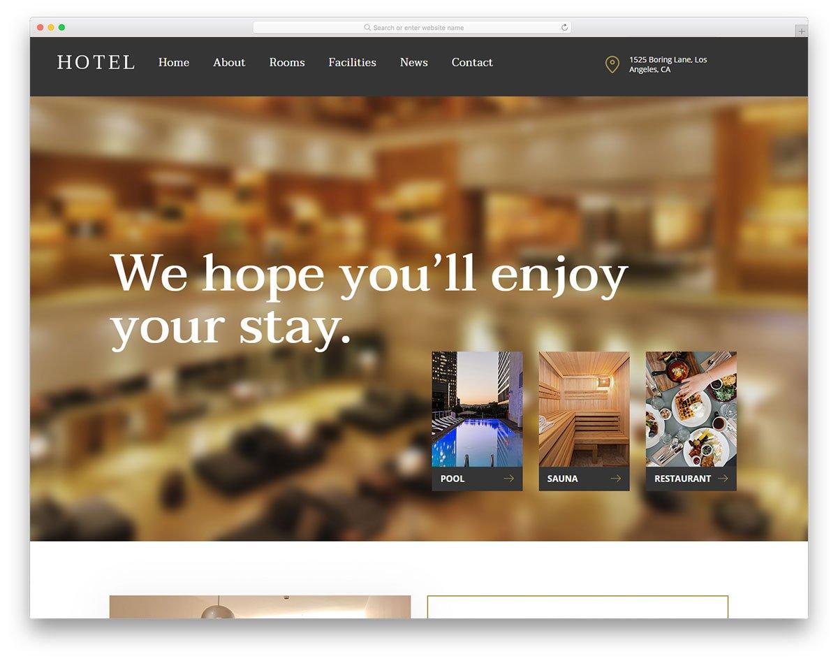 Modèle gratuit d'hôtel