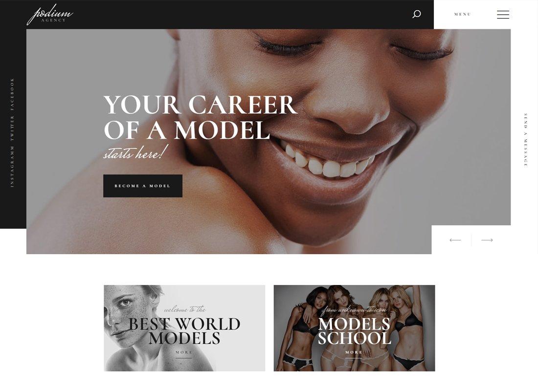 Podium - Thème WordPress pour agence de mannequins