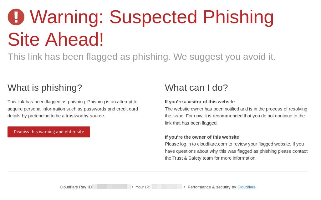 Une page d'avertissement de phishing de Cloudflare.