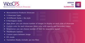 WooCommerce Products Showcase for Elementor WordPress Plugin